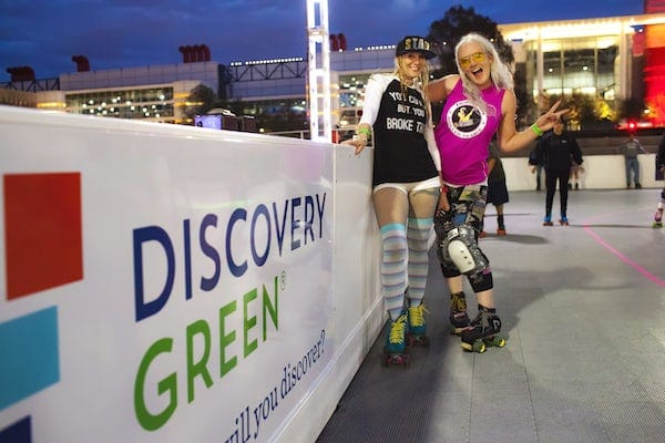 An Outdoor Roller Rink Is Now Open At The Foot Of The Houston Skyline