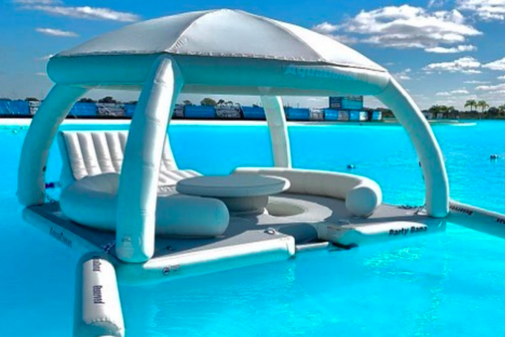 Make Waves On These Floating Cabanas At This Turquoise Lagoon This Summer